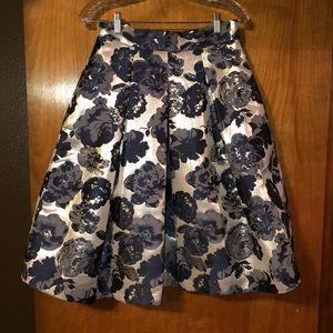 Anthropologie Floral Jacquard Skirt